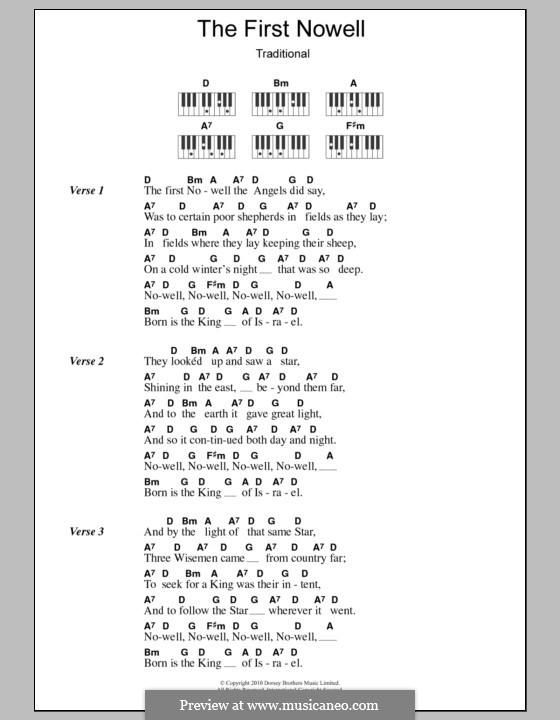 The First Nowell (The First Noël), Printable scores: letras e acordes para piano by folklore