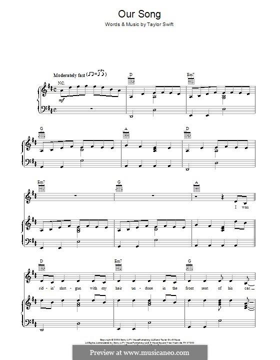 Our Song: Para vocais e piano (ou Guitarra) by Taylor Swift