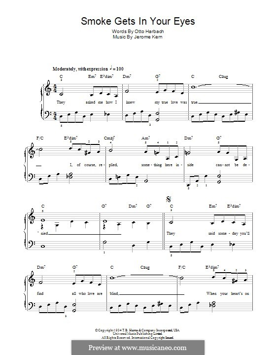 Smoke Gets in Your Eyes (from 'Roberta'): Facil para o piano by Jerome Kern