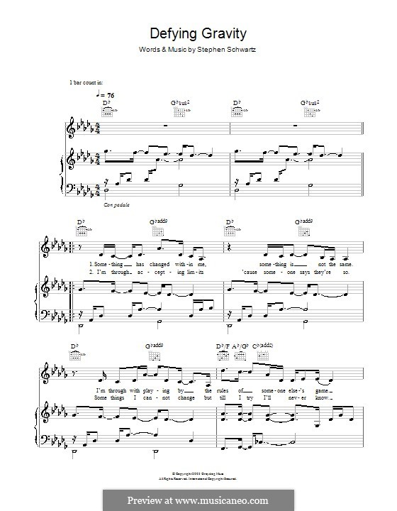 Defying Gravity (from the Broadway Musical Wicked): Para vocais e piano (ou Guitarra) by Stephen Schwartz