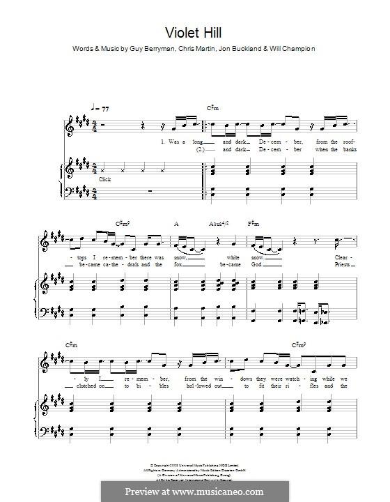 Violet Hill (Coldplay): Para vocais e piano (ou Guitarra) by Chris Martin, Guy Berryman, Jonny Buckland, Will Champion