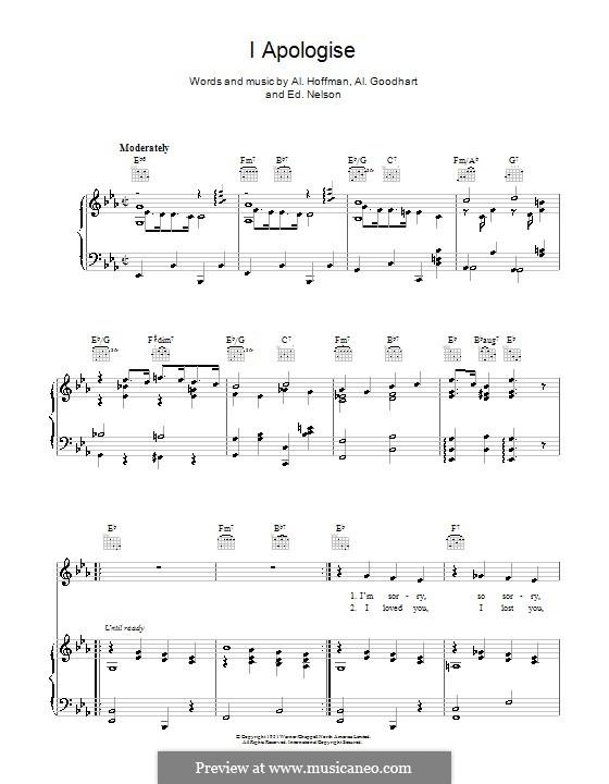 I Apologise: Para vocais e piano (ou Guitarra) by Ed G. Nelson, Al Goodhart, Al Hoffman