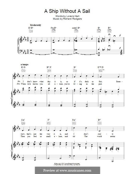 A Ship without a Sail: Para vocais e piano (ou Guitarra) by Richard Rodgers