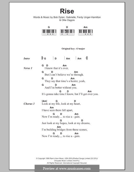 Rise: letras e acordes para piano by Gabrielle, Bob Dylan, Ferdy Unger-Hamilton, Ollie Dagois