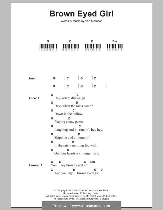 Brown Eyed Girl: letras e acordes para piano by Van Morrison