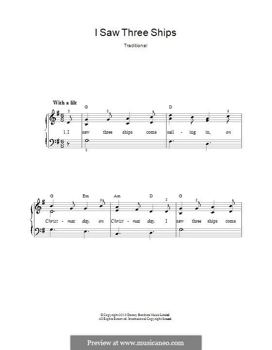 I Saw Three Ships: Para vocais e piano by folklore