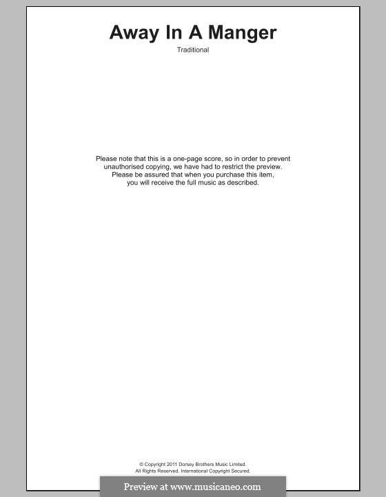 Away in a Manger: letras e acordes para piano by William (James) Kirkpatrick