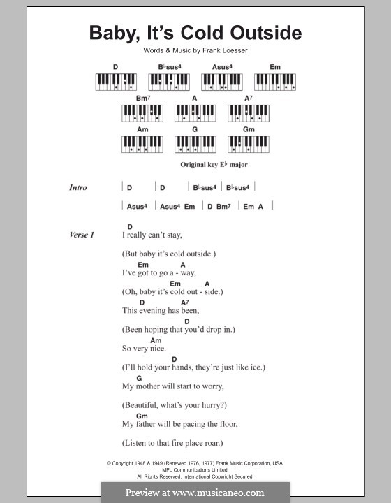 Baby, it's Cold Outside: letras e acordes para piano by Frank Loesser