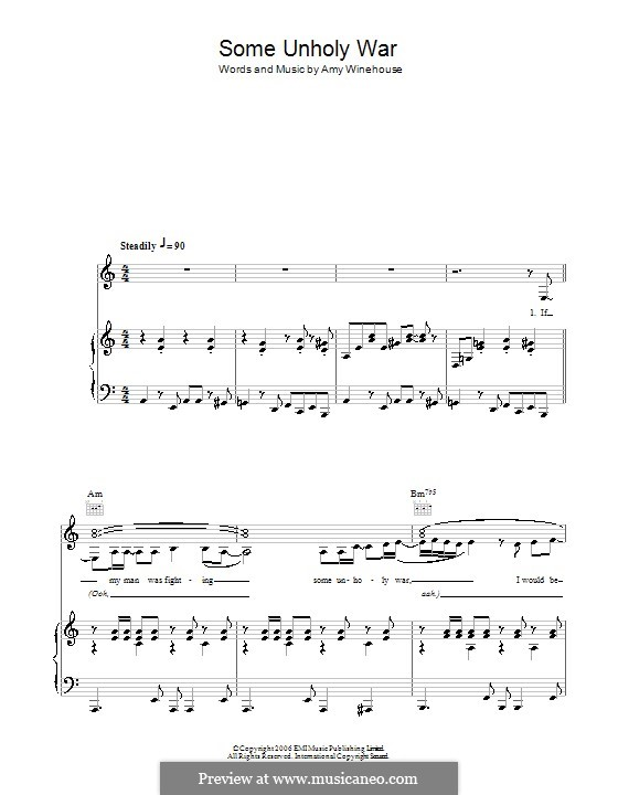 Some Unholy War: Para vocais e piano (ou Guitarra) by Amy Winehouse