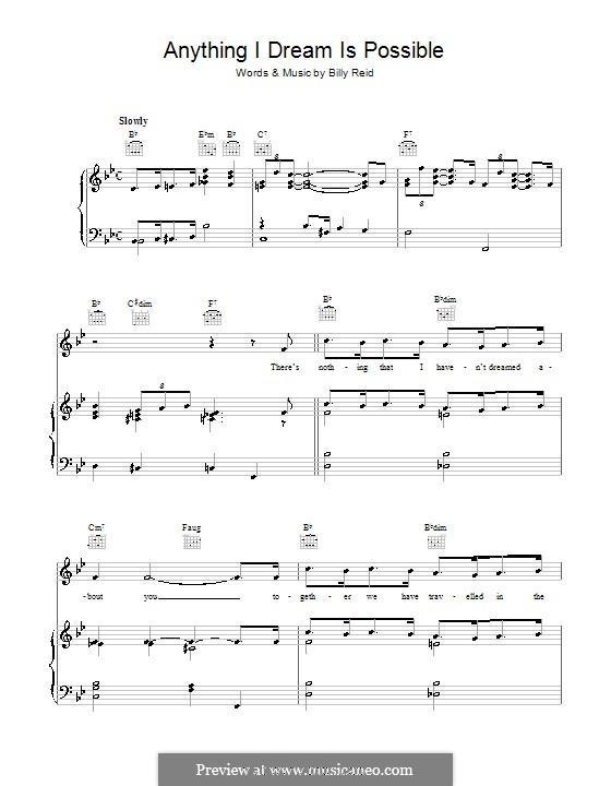 Anything I Dream Is Possible: Para vocais e piano (ou Guitarra) by Billy Reid