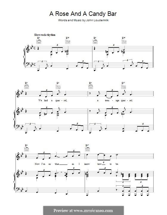 A Rose and a Candy Bar: Para vocais e piano (ou Guitarra) by John D. Loudermilk