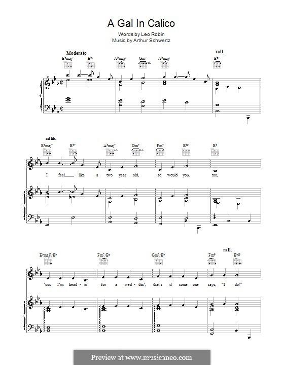 A Gal in Calico (Bing Crosby): Para vocais e piano (ou Guitarra) by Arthur Schwartz