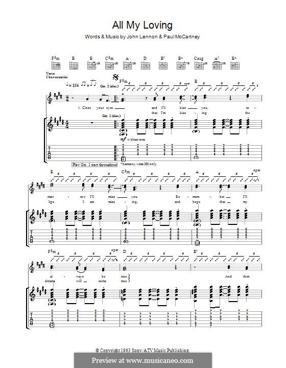 All My Loving (The Beatles): para guitarras com guia by John Lennon, Paul McCartney