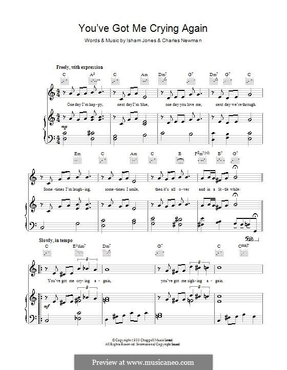 You've Got Me Crying Again: Para vocais e piano (ou Guitarra) by Isham Jones, Charles Newman