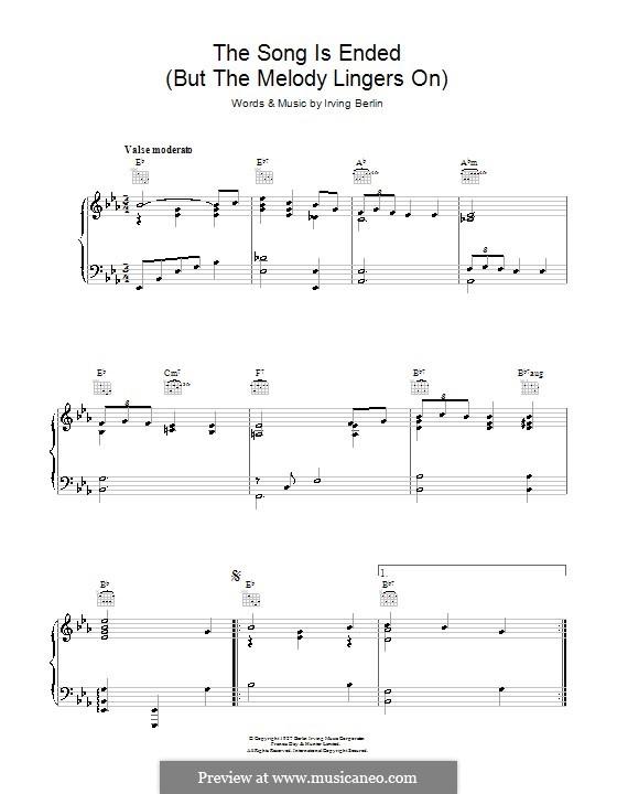 The Song Is Ended: Para vocais e piano (ou Guitarra) by Irving Berlin
