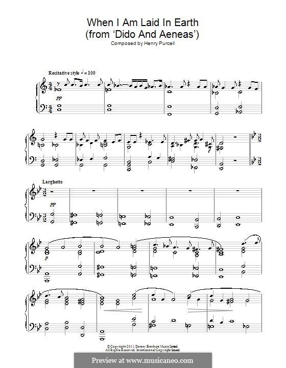Dido's Lament: para piano (partituras de alta qualidade) by Henry Purcell