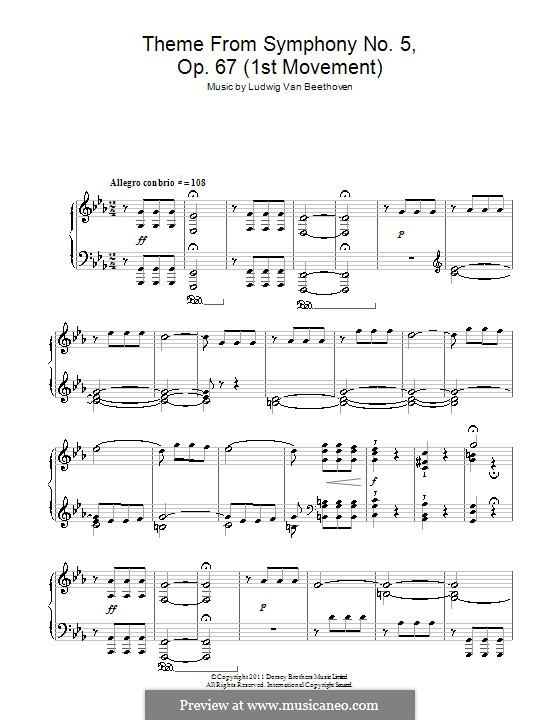 Movement I: Version for piano (Theme) by Ludwig van Beethoven