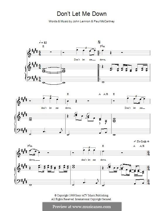 Don't Let Me Down (The Beatles): Para vocais e piano (ou Guitarra) by John Lennon, Paul McCartney