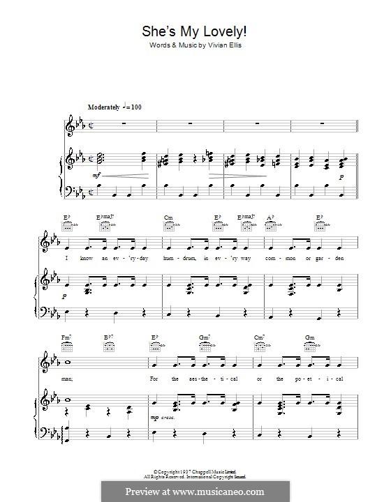 She's My Lovely: Para vocais e piano (ou Guitarra) by Vivian Ellis