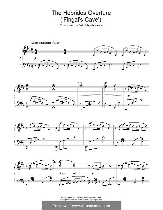 Die Hebriden oder Die Fingalshöhle (Hebrides Overture), Op.26: For piano. Fragment (high quality sheet music) by Felix Mendelssohn-Bartholdy