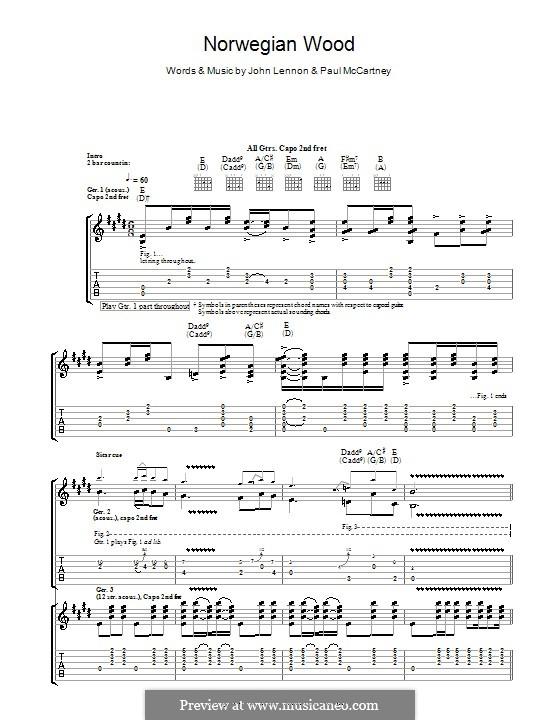 Norwegian Wood (This Bird Has Flown): para guitarra com guia by John Lennon, Paul McCartney
