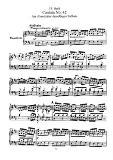Am Abend aber desselbigen Sabbats (On the Evening of that Very Same Sabbath), BWV 42: Partitura piano-vocal by Johann Sebastian Bach