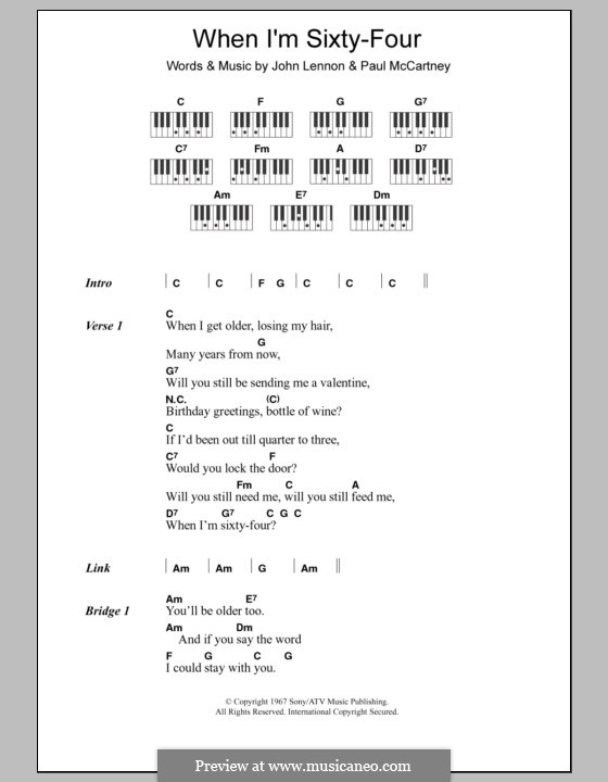 When I'm Sixty-Four (The Beatles): Lyrics and piano chords by John Lennon, Paul McCartney