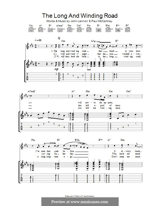 The Long and Winding Road (The Beatles): Para Guitarra by John Lennon, Paul McCartney