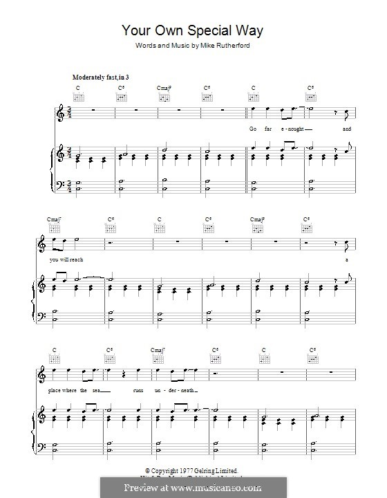 Your Own Special Way (Genesis): Para vocais e piano (ou Guitarra) by Mike Rutherford