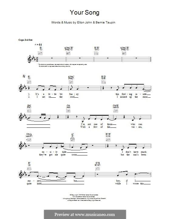 Your Song: melodía,letras e acordes by Elton John