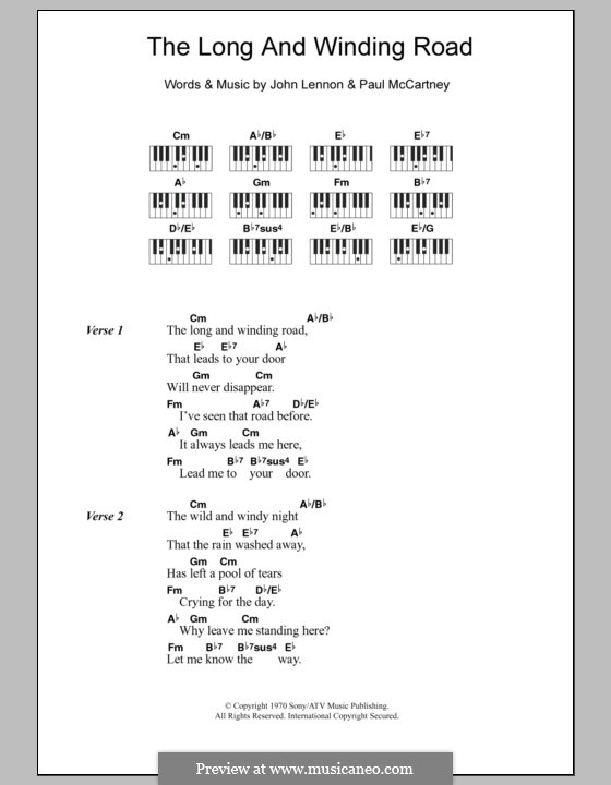 The Long and Winding Road (The Beatles): letras e acordes para piano by John Lennon, Paul McCartney
