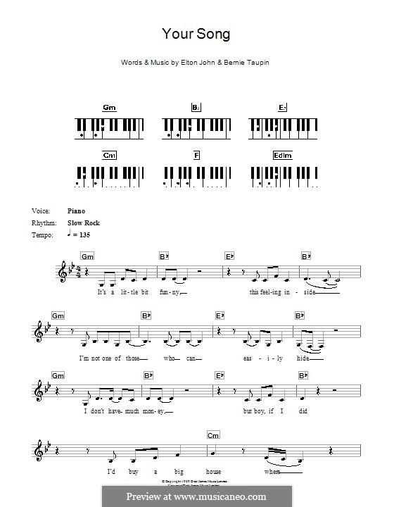Your Song: para teclado by Elton John