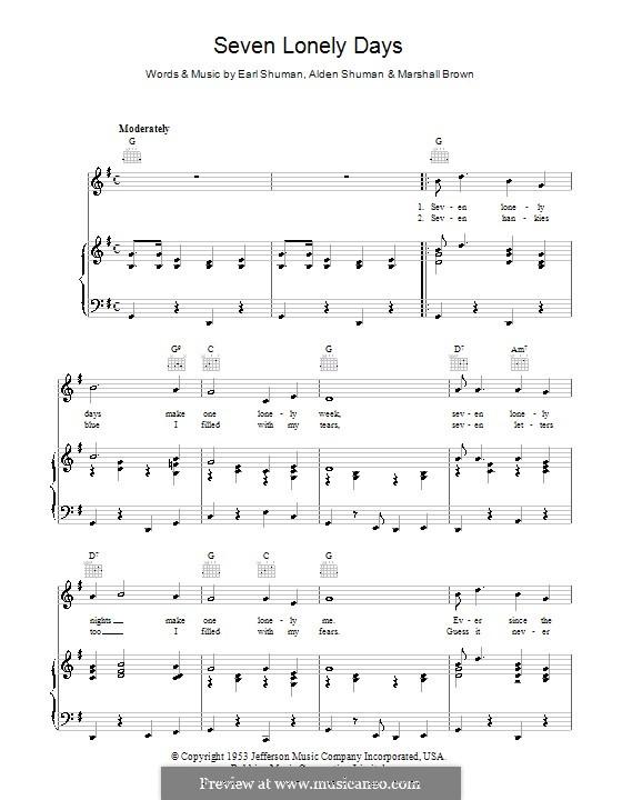 Seven Lonely Days: Para vocais e piano (ou Guitarra) by Alden Shuman, Earl Shuman, Marshall Brown