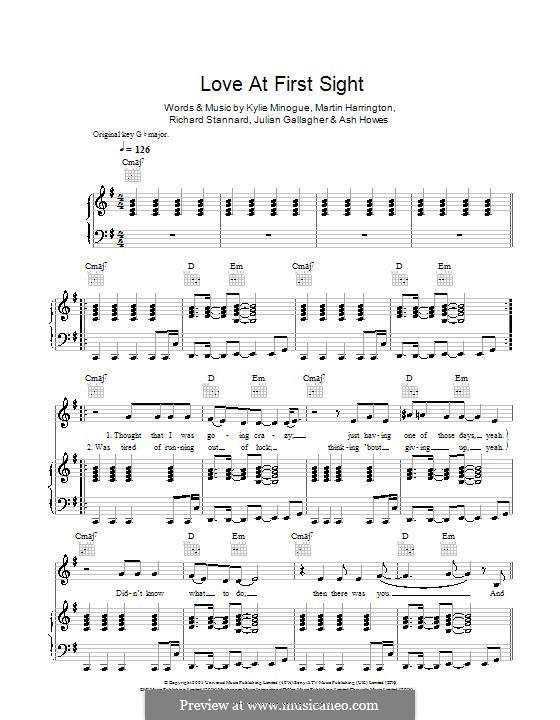 Love at First Sight: Para vocais e piano (ou Guitarra) by Ashley Howes, Julian Gallagher, Kylie Minogue, Martin Harrington, Richard Stannard