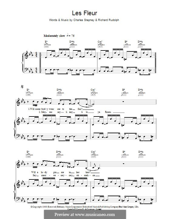 Les Fleur: For voice and piano or guitar (Minnie Riperton) by Charles Stepney, Richard Rudolph