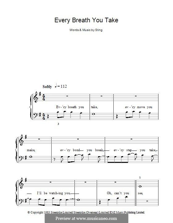 Every Breath You Take (The Police): Facil para o piano by Sting