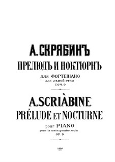 Prelude and Nocturne for the Left Hand, Op.9: para um único musico (Editado por H. Bulow) by Alexander Scriabin