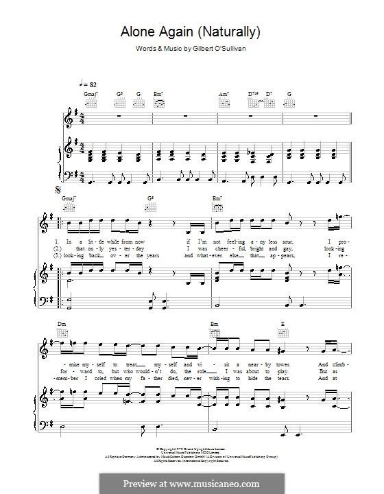 Alone Again (Naturally): Para vocais e piano (ou Guitarra) by Gilbert O'Sullivan