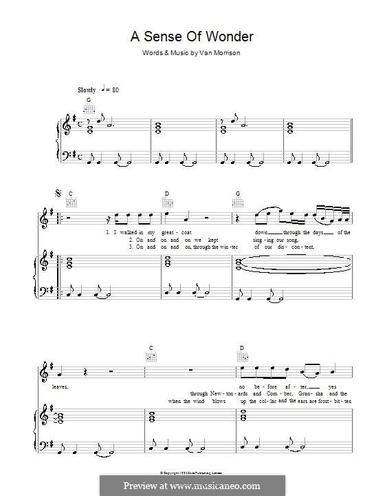 A Sense of Wonder: Para vocais e piano (ou Guitarra) by Van Morrison