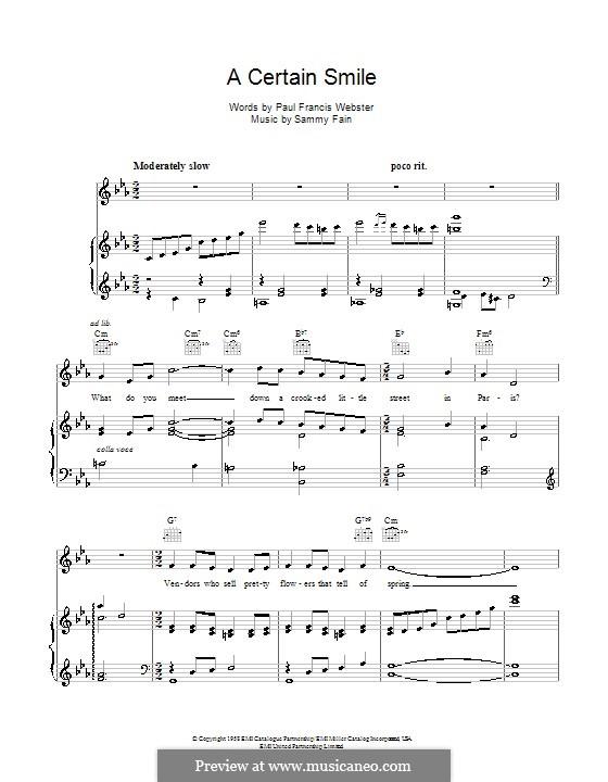 A Certain Smile (Johnny Mathis): Para vocais e piano (ou Guitarra) by Sammy Fain