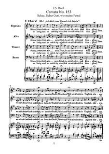 Schau, lieber Gott, wie meine Feind, BWV 153: Partitura piano-vocal by Johann Sebastian Bach