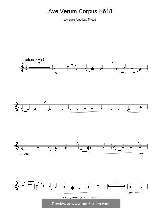 Ave verum corpus (Printabel Scores), K.618: Para clarinete e piano - parte solo by Wolfgang Amadeus Mozart