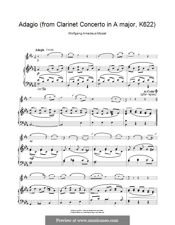 Concerto for Clarinet and Orchestra in A Major, K.622: Adagio. Version for clarinet and piano by Wolfgang Amadeus Mozart