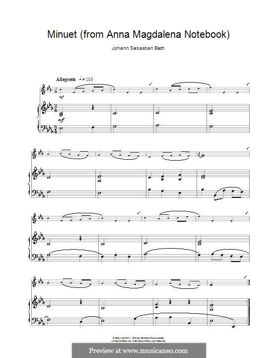 No.4 Minuet in G Major, BWV Anh.114: para clarinete e piano by Johann Sebastian Bach