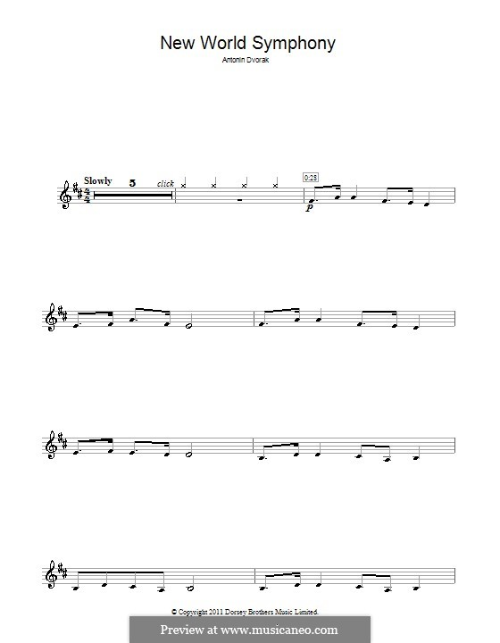 Movement II (Largo) Printable Scores: Theme, for clarinet by Antonín Dvořák