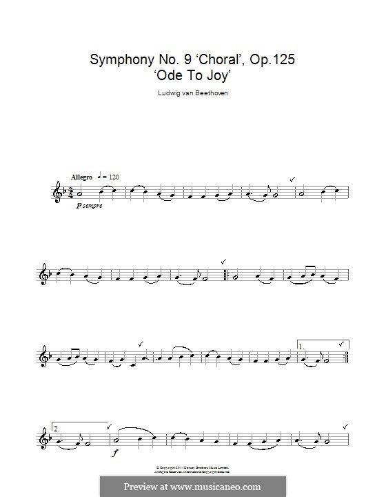 Ode to Joy (Printable scores): Version for clarinet by Ludwig van Beethoven