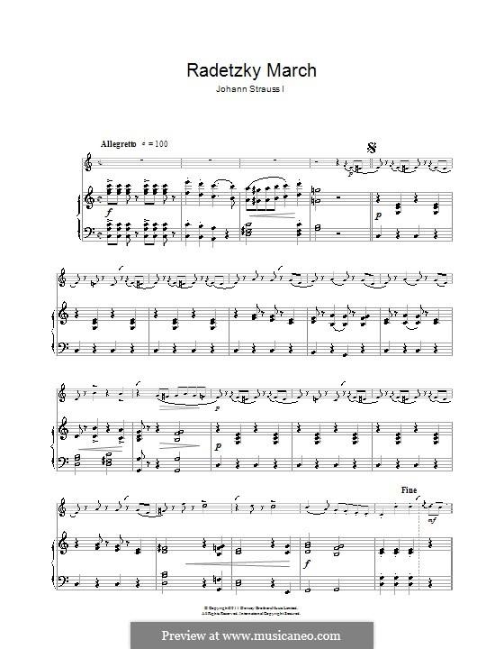 Radetzky March, Op.228: para clarinete e piano by Johann Strauss Sr.