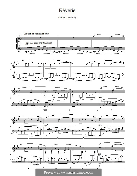 Rêverie, L.68: Para Piano by Claude Debussy