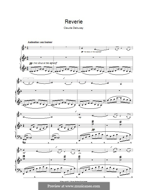 Rêverie, L.68: para clarinete e piano by Claude Debussy