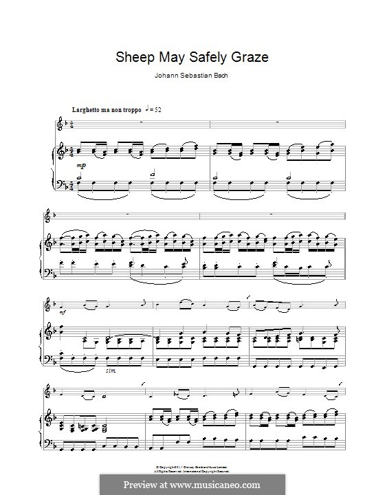 The Lively Hunt is All My Heart's Desire, BWV 208: Sheep May Safely Graze, for clarinet and piano by Johann Sebastian Bach